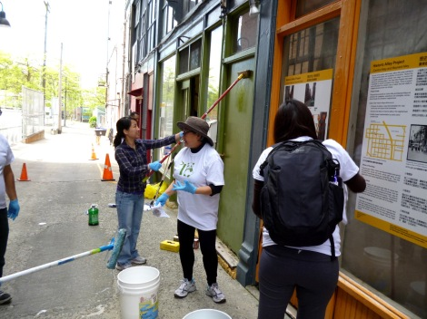 Storefront facade gets scrubbed