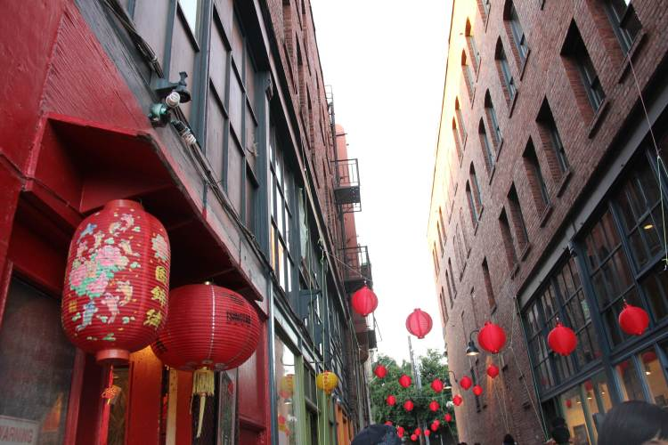 Canton Alley was decorated with lantern for the events.